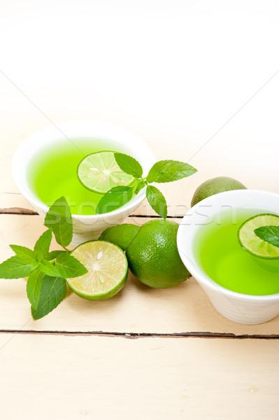 Mint infusie thee kalk vers gezonde Stockfoto © keko64