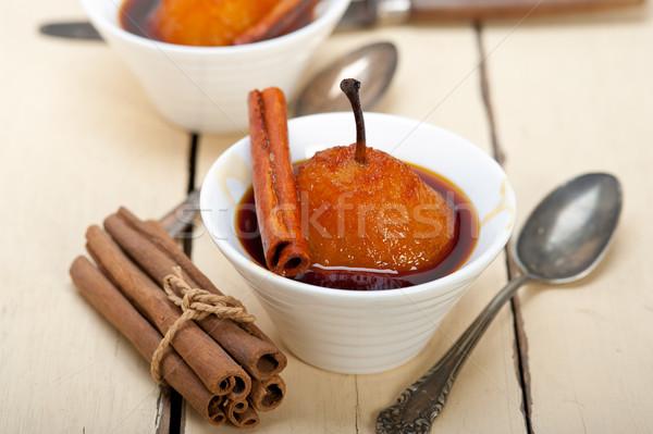 Körték finom házi recept fehér rusztikus Stock fotó © keko64