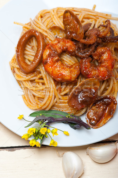 Сток-фото: итальянский · морепродуктов · спагетти · пасты · красный · томатном · соусе