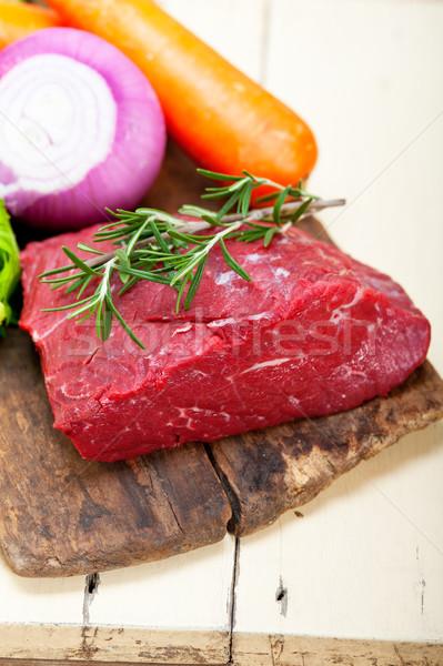 Foto stock: Fresco · carne · cortar · pronto · cozinhar