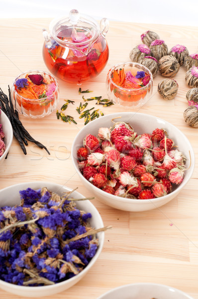 Herbal natural floral tea infusion with dry flowers Stock photo © keko64