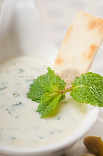 Stockfoto: Grieks · yoghurt · pita · brood · vers