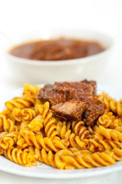 fusilli pasta with neapolitan style ragu meat sauce Stock photo © keko64
