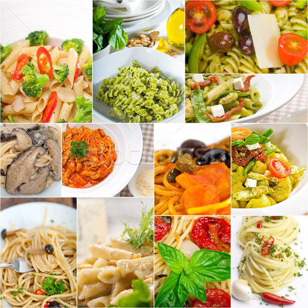 Collectie verschillend type Italiaans pasta collage Stockfoto © keko64