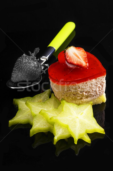heart strawberry cake Stock photo © keko64
