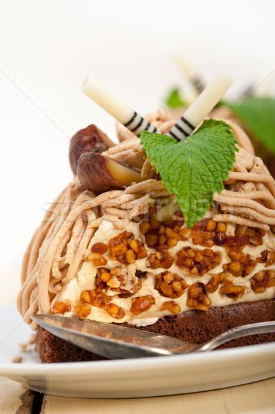 Stockfoto: Kastanje · room · cake · dessert · vers · gebakken