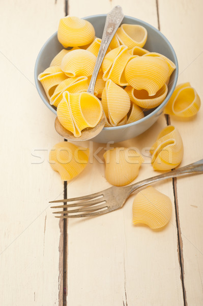 Italiano caracol pasta crudo azul tazón Foto stock © keko64
