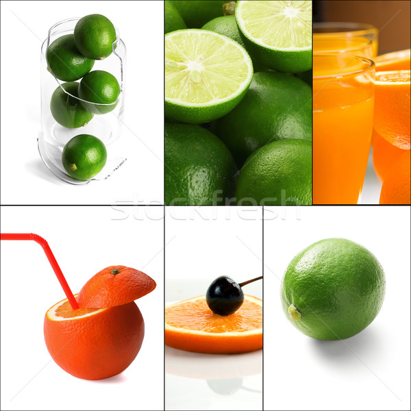 Stock fotó: Citrus · gyümölcsök · kollázs · friss · tér · keret