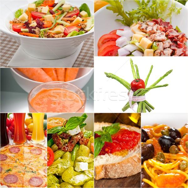 Gesunden Vegetarier vegan Essen Collage weiß Stock foto © keko64