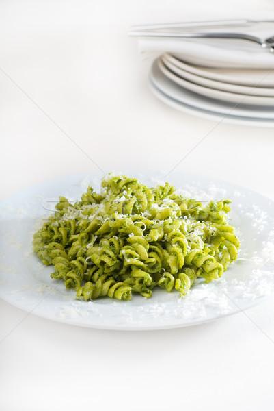 Foto stock: Italiano · macarrão · pesto · fresco · caseiro · molho