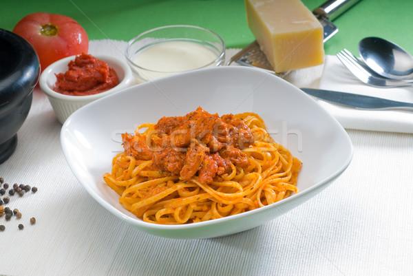 Stock fotó: Paradicsom · tyúk · tészta · olasz · spagetti · friss