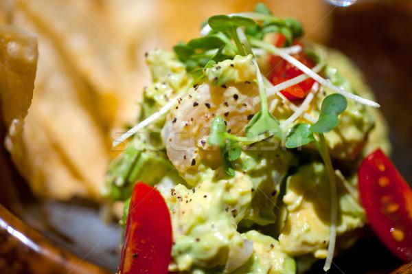 Avokado salata taze nachos yan kırmızı Stok fotoğraf © keko64