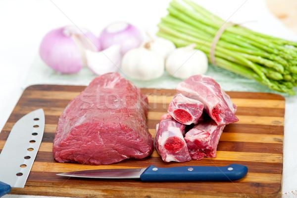 Nyers marhahús disznóhús borda spárga gyógynövények Stock fotó © keko64