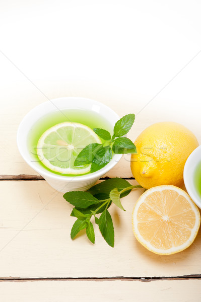 Mint infusie thee citroen vers gezonde Stockfoto © keko64