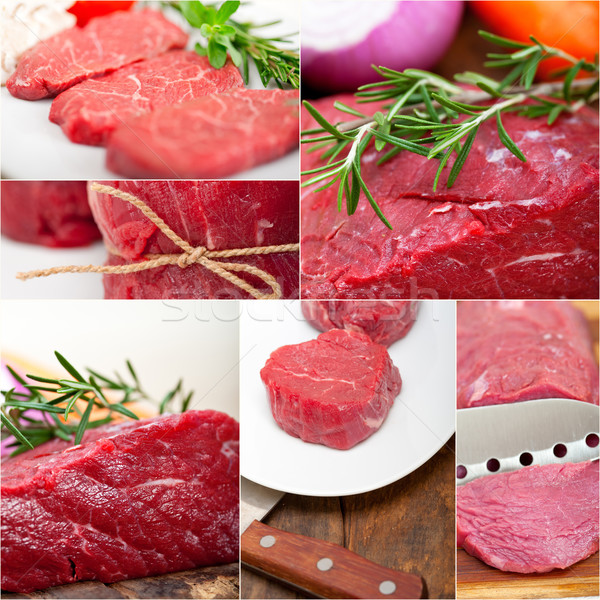 different raw beef cuts collage Stock photo © keko64