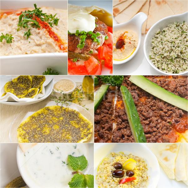 Árabe oriente médio comida colagem coleção branco Foto stock © keko64