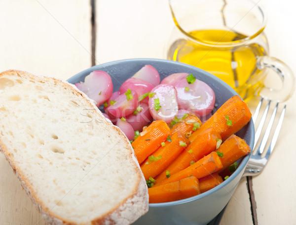 Párolt gyökér zöldség tál rusztikus fehér Stock fotó © keko64