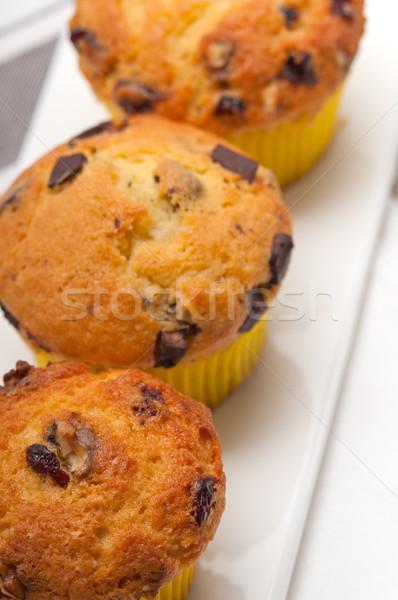 fresh chocolate and raisins muffins Stock photo © keko64