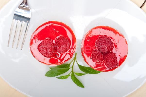fresh raspberry cake mousse dessert Stock photo © keko64
