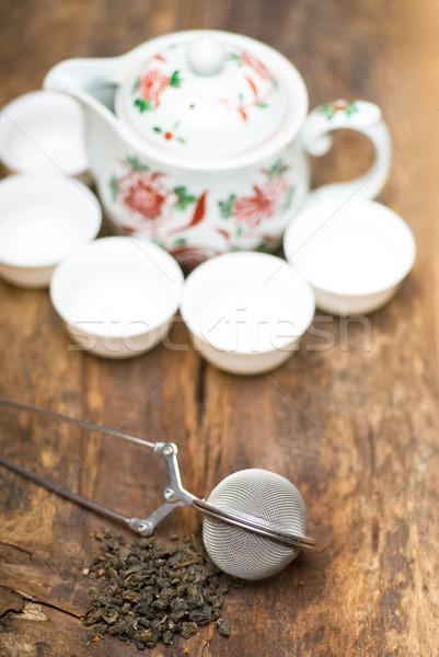 Verde chinês chá conjunto secar bule Foto stock © keko64
