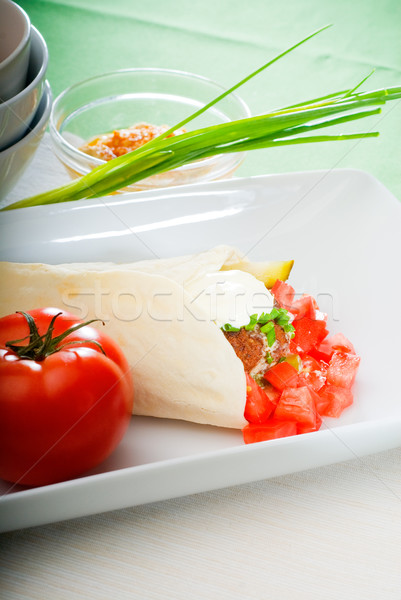 Stockfoto: Vers · traditioneel · pita · brood · gehakt