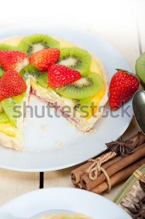 Kiwi fragola torta crostata limone crema pasticcera Foto d'archivio © keko64