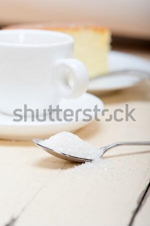 Italiano café expreso café terrones de azúcar frescos macro Foto stock © keko64