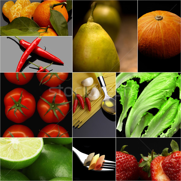 Organic Vegetarian Vegan food collage  dark  Stock photo © keko64