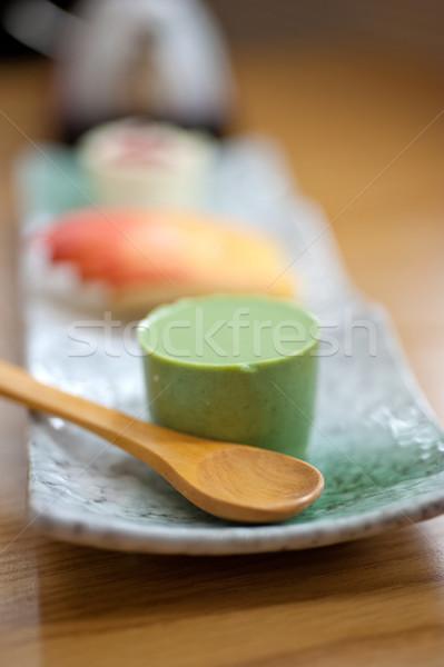 Japán stílus zöld tea puding desszert torta Stock fotó © keko64