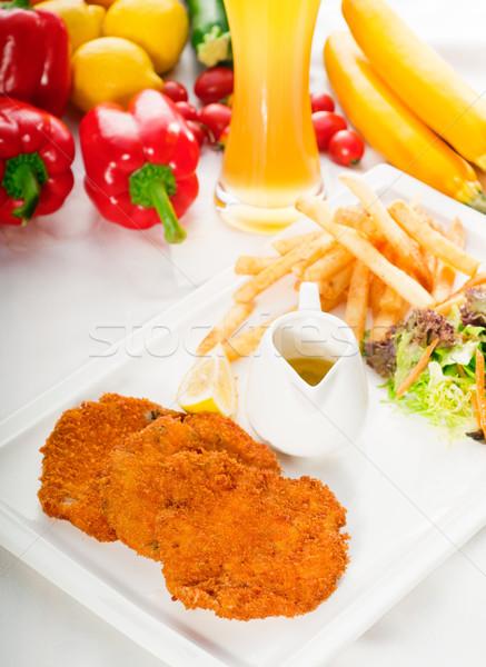 子牛肉 野菜 フライドポテト ガラス ストックフォト © keko64