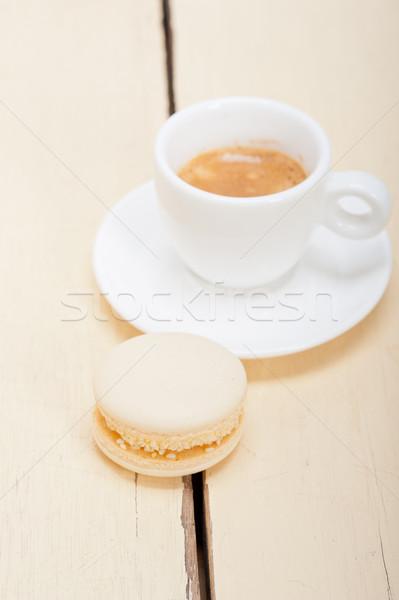 Színes eszpresszó kávé fehér fa asztal torta Stock fotó © keko64