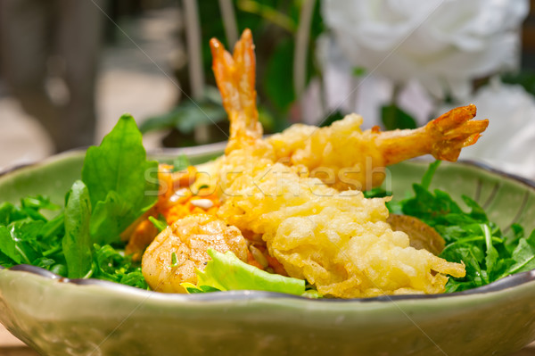 fresh Japanese tempura shrimps with salad Stock photo © keko64