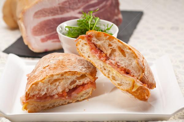 Panini sandwich jambon tomate italien alimentaire Photo stock © keko64