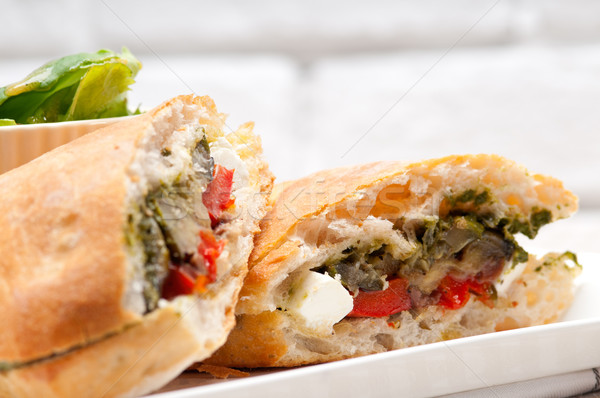 Panini sebze beyaz İtalyan gıda Stok fotoğraf © keko64