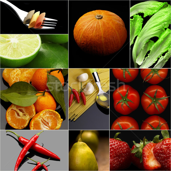 Organic Vegetarian Vegan food collage  dark  Stock photo © keko64