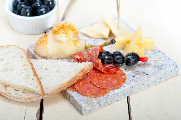 mix cold cut on a stone with fresh pears Stock photo © keko64
