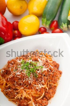 спагетти соус болоньезе свежие овощи итальянский классический Сток-фото © keko64
