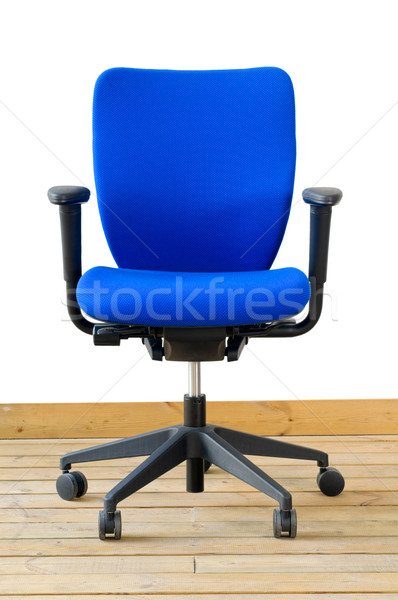 Moderne Blauw bureaustoel houten vloer witte business Stockfoto © keko64