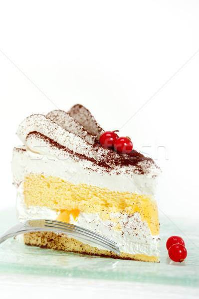Krem şanti tatlı kek dilim taze toz Stok fotoğraf © keko64