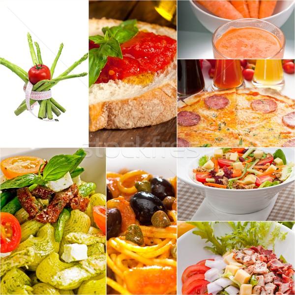 здорового вегетарианский вегетарианский продовольствие коллаж белый Сток-фото © keko64