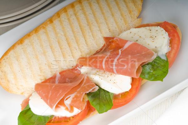 Panini caprese jambon sandwich fraîches alimentaire Photo stock © keko64