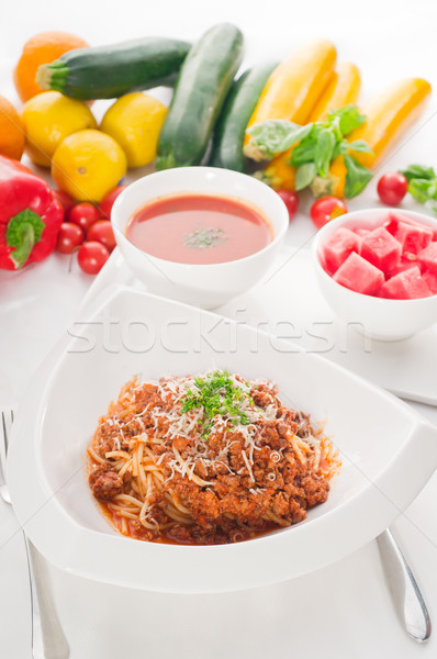 spaghetti with bolognese sauce with gazpacho soup and fresh vege Stock photo © keko64