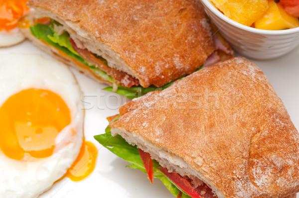 Панини сэндвич яйца томатный салата свежие Сток-фото © keko64