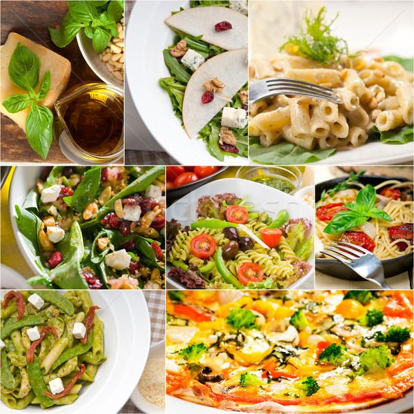 Foto stock: Saludable · sabroso · comida · italiana · collage · vegetariano · pasta