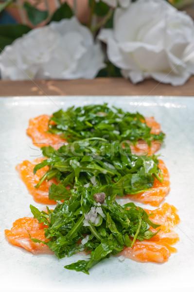 Stock fotó: Friss · lazac · szusi · sashimi · rakéta · saláta