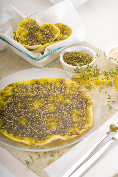 Stockfoto: Pizza · sesam · extra · maagd · olijfolie · top