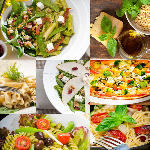 здорового вкусный итальянской кухни коллаж вегетарианский пасты Сток-фото © keko64