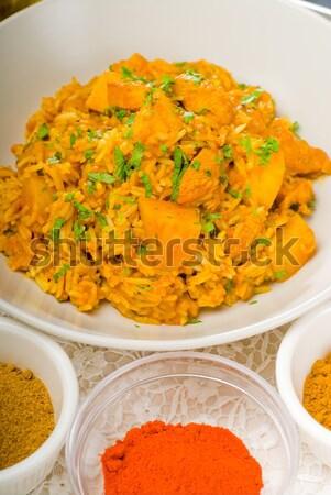 Caril carne arroz batatas fresco Foto stock © keko64