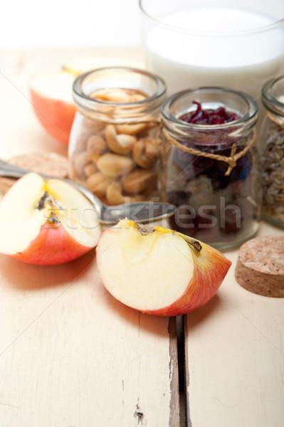 Stock fotó: Egészséges · reggeli · hozzávalók · tej · zab · kesudió