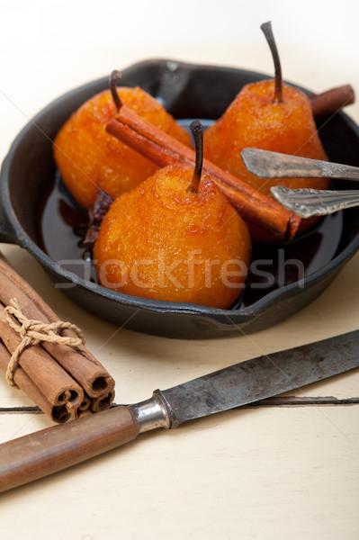 ストックフォト: 梨 · レシピ · 白 · 素朴な